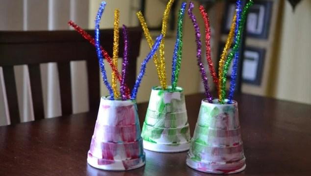 Styrofoam Cup Fireworks {New Year's Kid Craft}