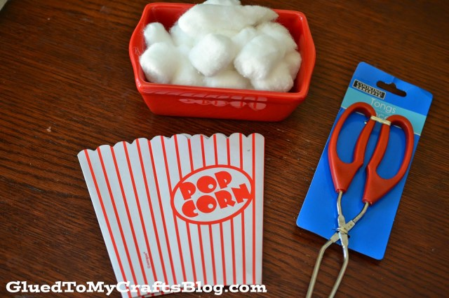 Pick Up The Popcorn {Fine Motor Game}