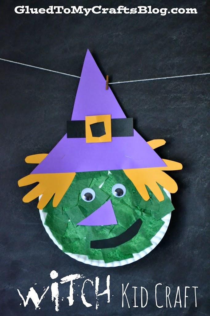 Paper Plate Halloween Witch Kid Craft & Halloween Witch Kid Craft
