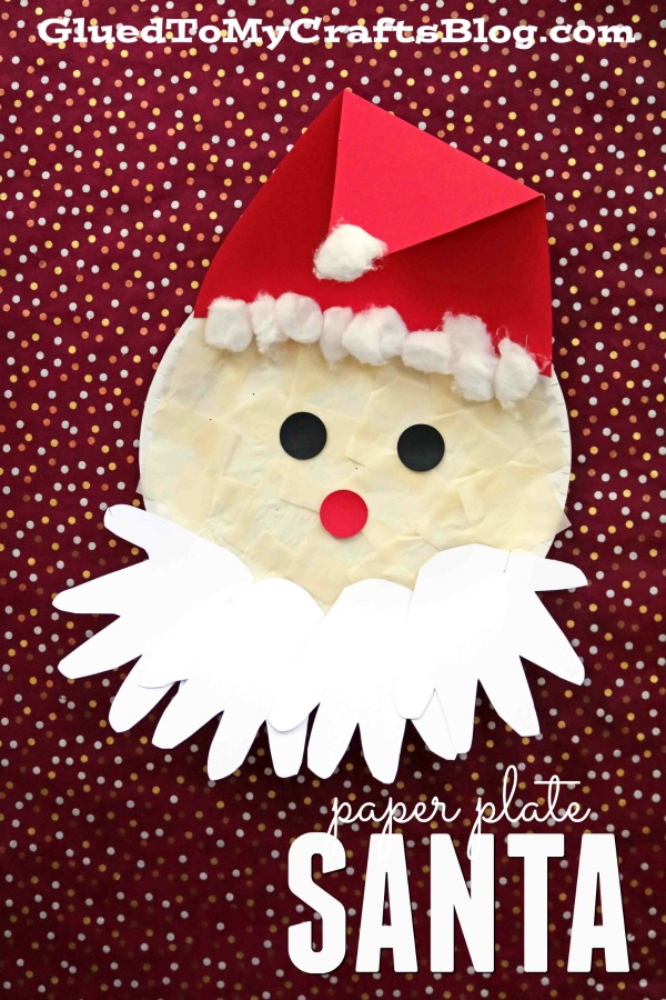 Paper Plate Santa w/Handprint Beard {Kid Craft}