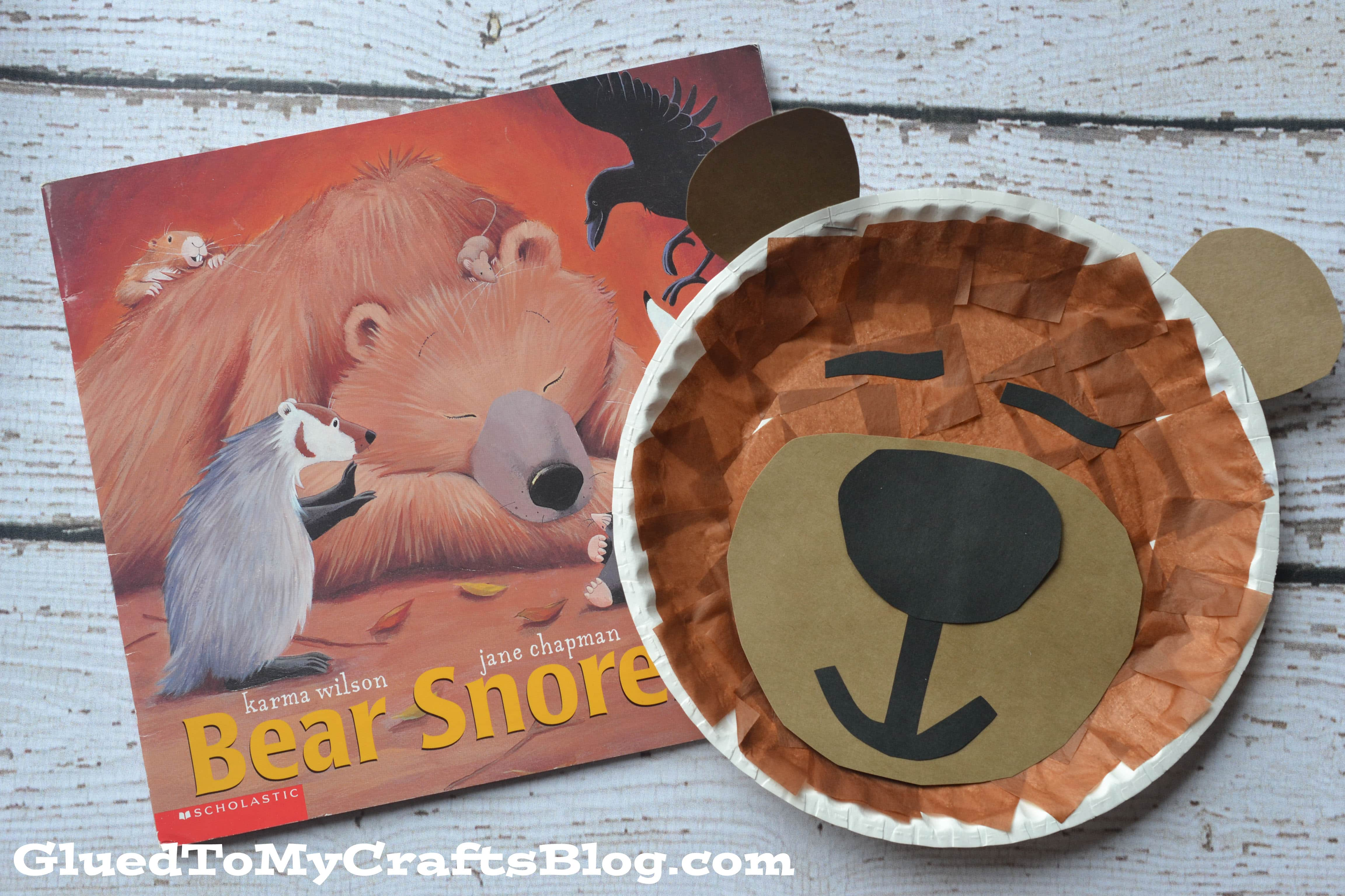 Paper Plate Sleeping Bear Kid Craft