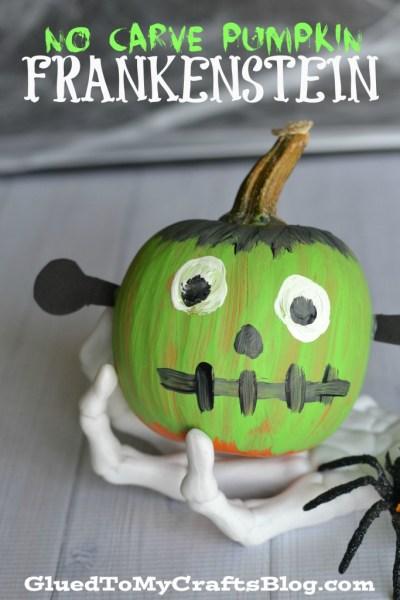 No Carve Pumpkin Frankenstein
