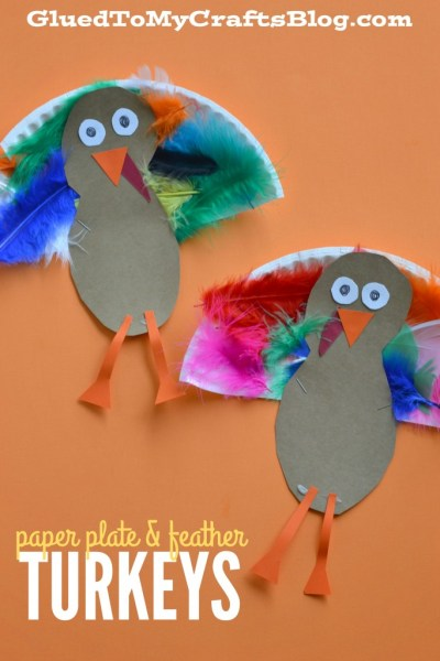 Paper Plate & Feather Turkey - Kid Craft