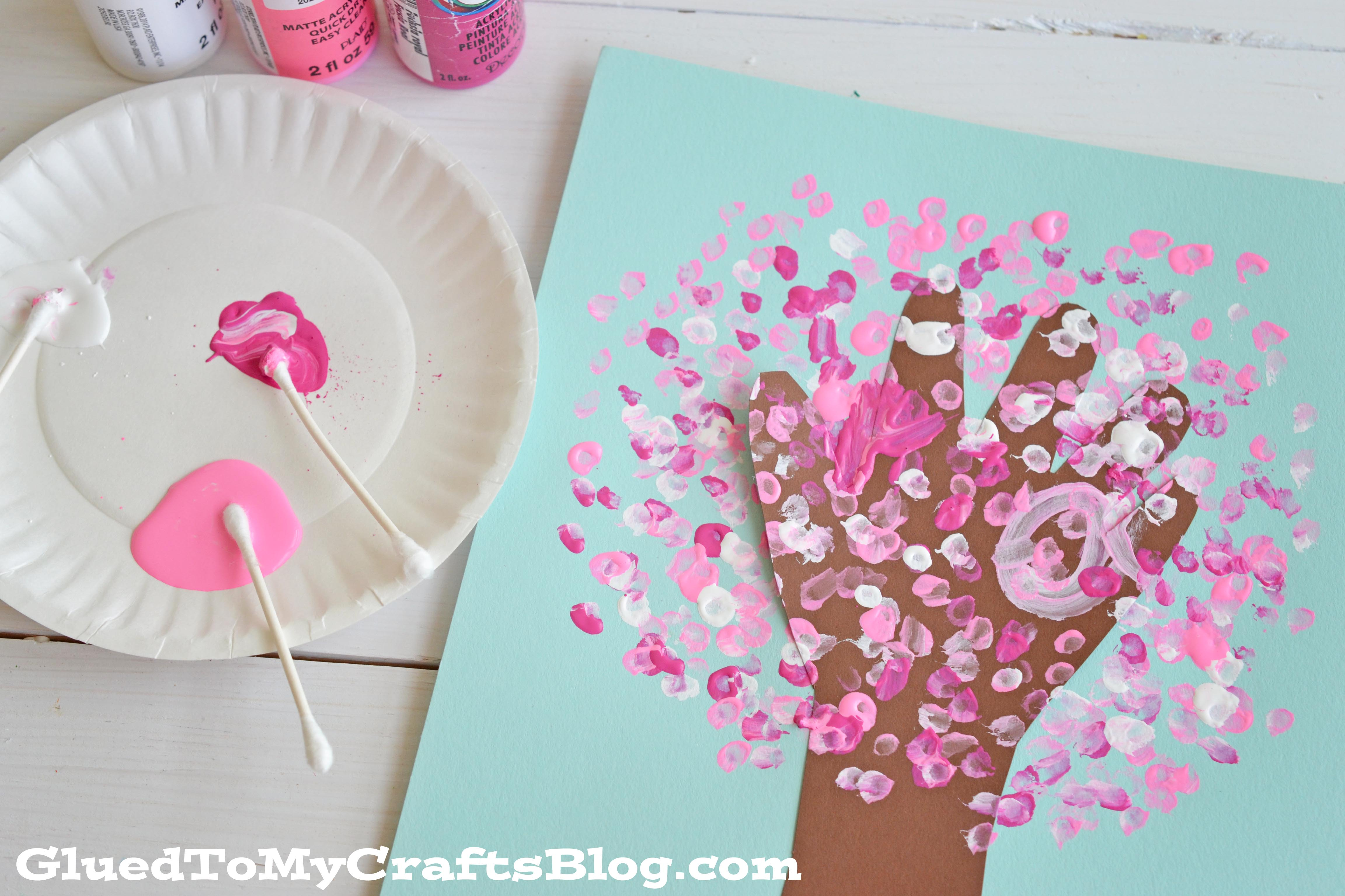 Q Tip Painted Handprint Cherry Blossom Tree