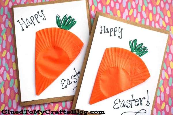 Cupcake Liner Carrot Cards - Kid Craft