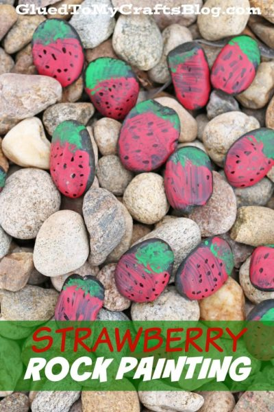 Strawberry Rock Painting - Kid Craft
