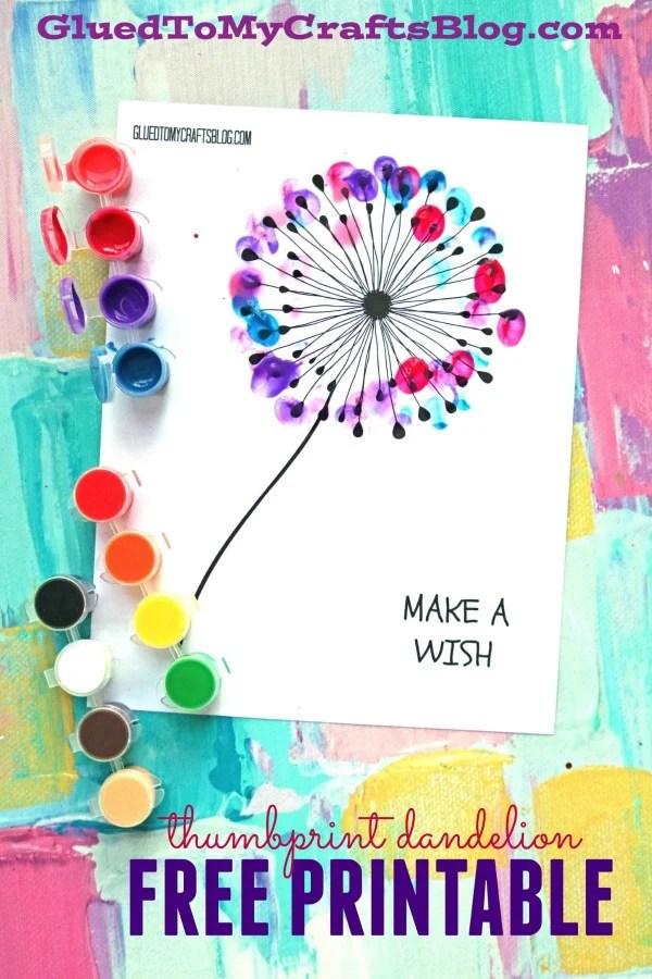 photograph regarding Printable Craft identified as Thumbprint Dandelion - Child Craft w/totally free printable