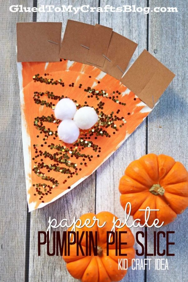 Paper Plate Pumpkin Pie Slice - Kid Craft