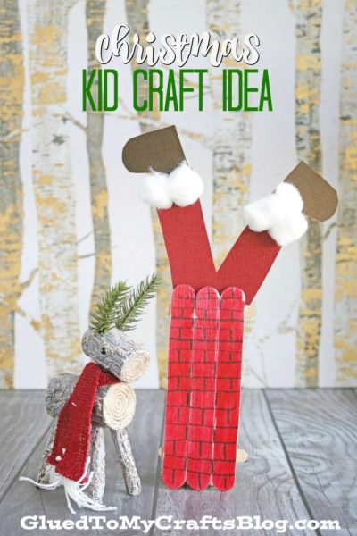 Popsicle Stick Santa Stuck in a Chimney - Kid Craft
