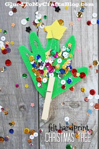 Felt Handprint Christmas Trees - Kid Craft