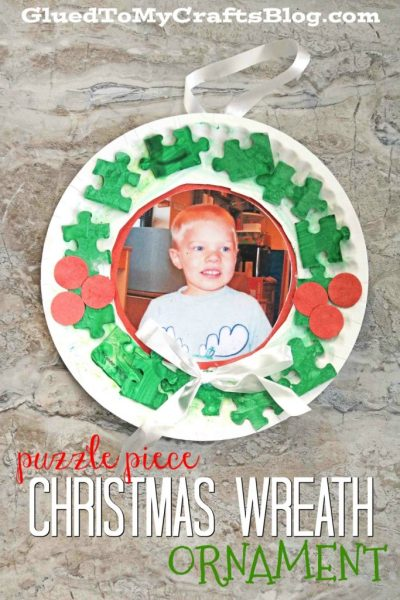Puzzle Piece Christmas Wreath Ornament