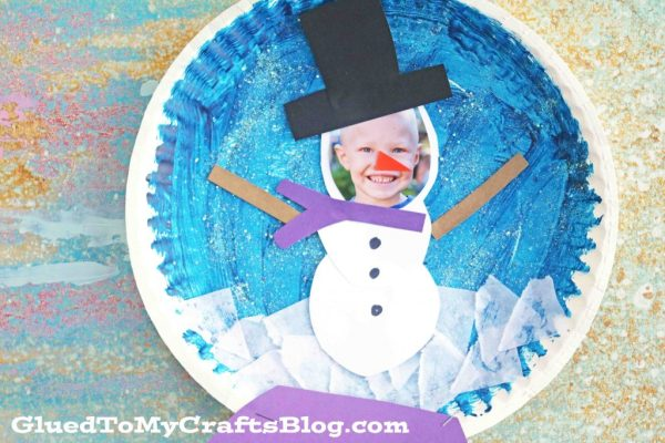 Personalized Paper Plate Snowman Snow Globe - Kid Craft