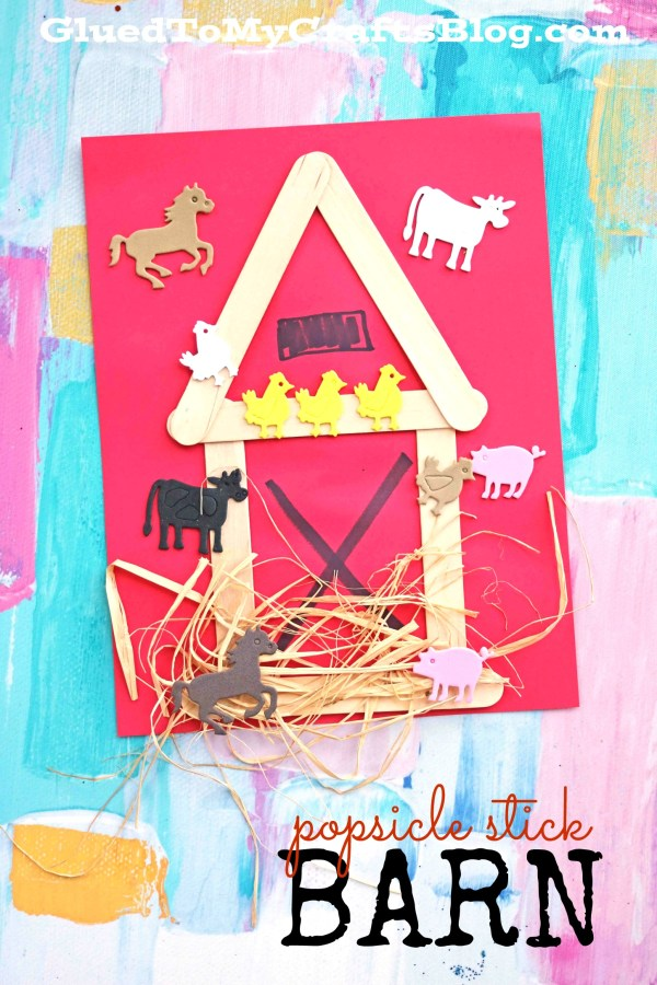 Mixed Media Popsicle Stick Barn - Kid Craft