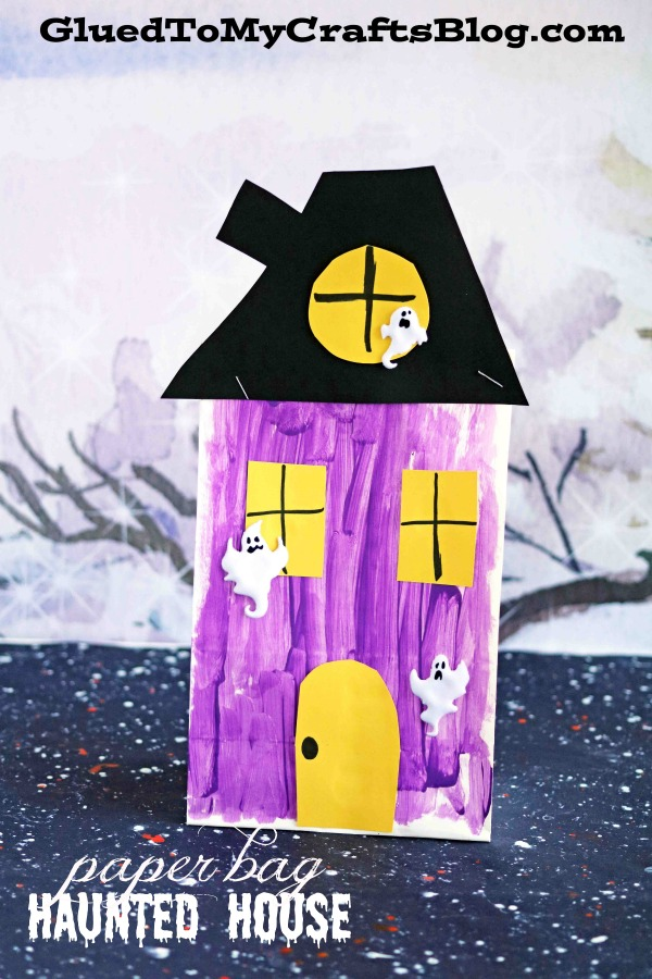 paper bag haunted house kid craft glued to my crafts