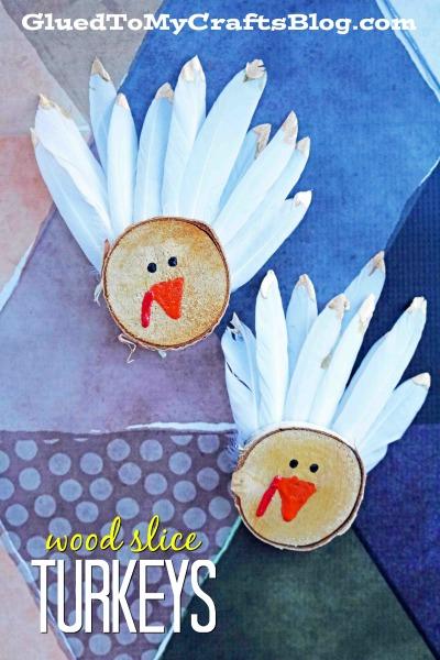 Wood Sliced Turkey Decorations - Kid Craft