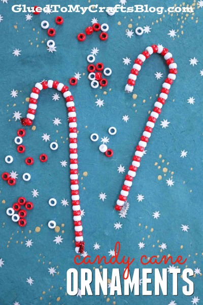 Beaded Candy Cane Ornaments - Christmas Kid Craft