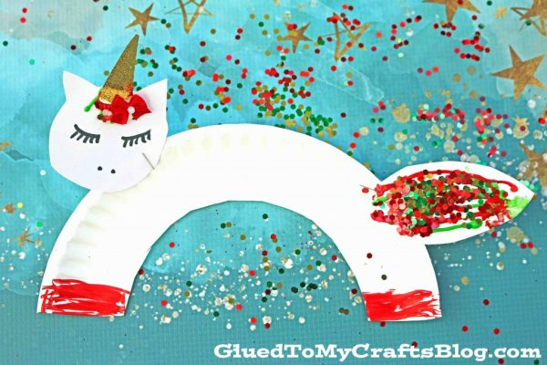 Paper Plate Christmas Unicorns - Kid Craft