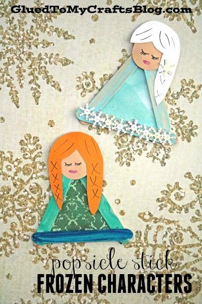 Popsicle Stick Frozen Characters - Elsa & Anna