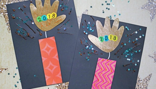 Paper Handprint Firework – Super Easy New Year's Eve Kid Craft
