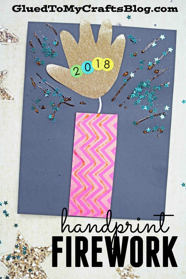Paper Handprint Firework - Super Easy New Year's Eve Kid Craft