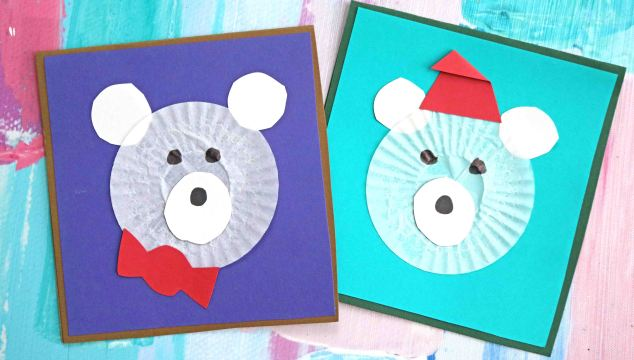 Winter Fun – Cupcake Liner Polar Bear Cards