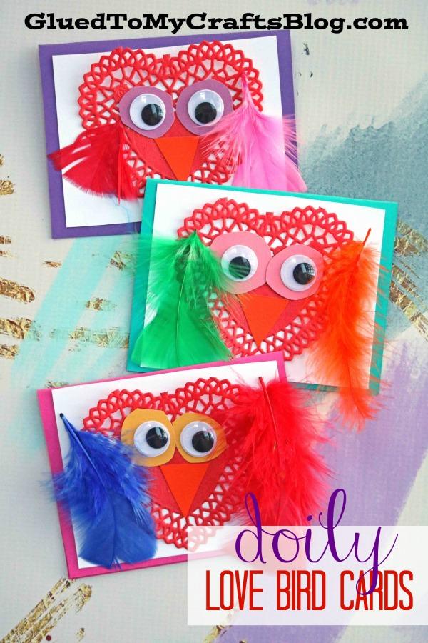 Paper Doily Love Birds Cards - Kid Craft