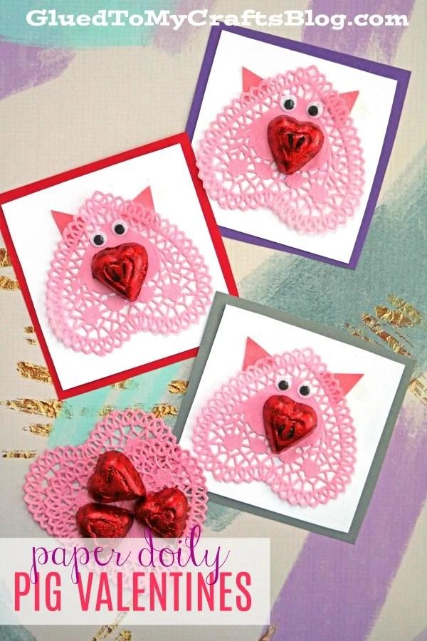 Paper Doily Pig Valentines