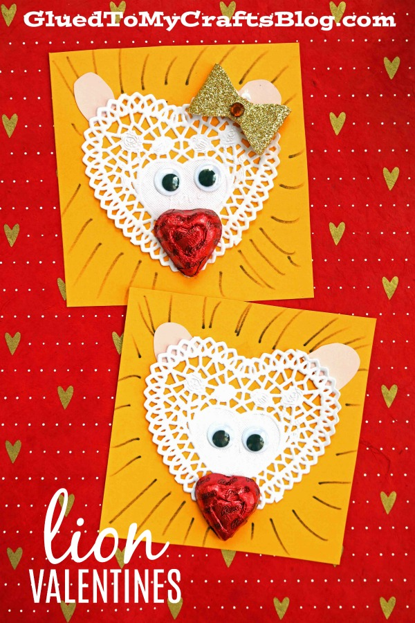 Paper Doily and Chocolate Lion Valentines