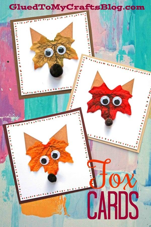 Decorative Leaf Fox Handmade Cards