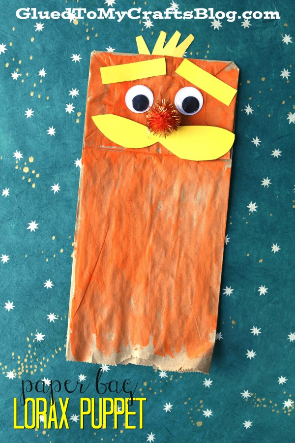 Paper Bag Lorax Puppet - Kid Craft
