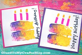 Sponge Painted Birthday Cake Cards