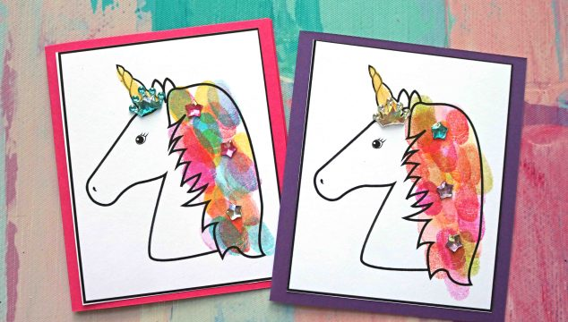 Thumbprint Unicorn Hair Cards – Free Printable