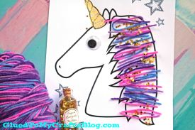 Magical Unicorn Yarn Hair Kid Craft Idea w/free printable template
