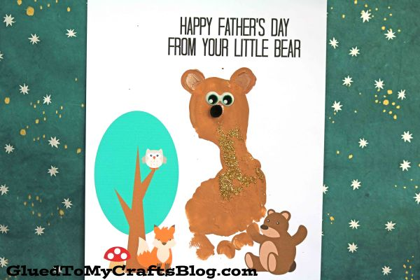 Footprint Baby Bear - Father's Day Keepsake Printable