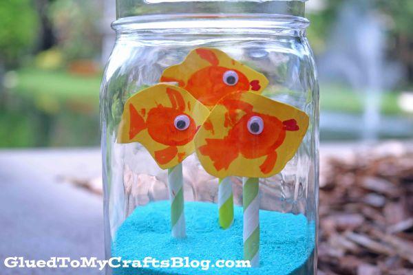 Mason Jar Fishbowl w/Thumbprint Fish - Kid Craft