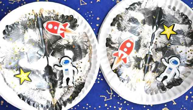 Paper Plate Paint Splat Moon - Kid Craft