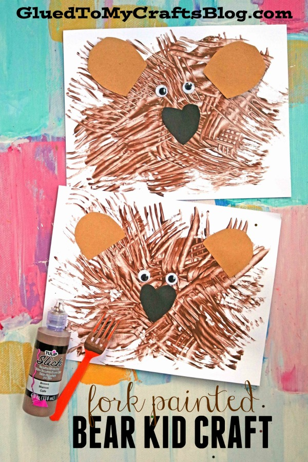 Fork Painted Teddy Bear - Kid Craft