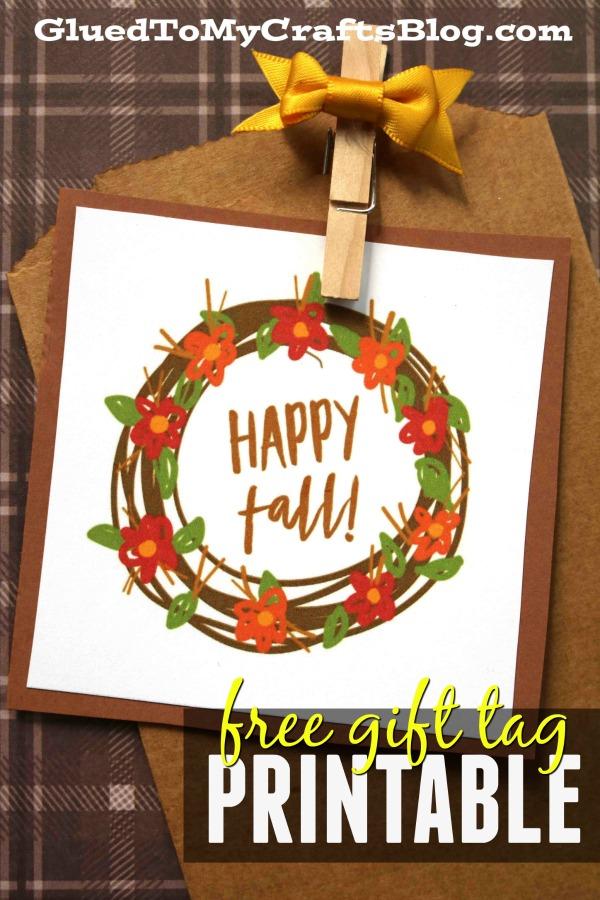 Happy Fall - Autumn Wreath Gift Tag Printable