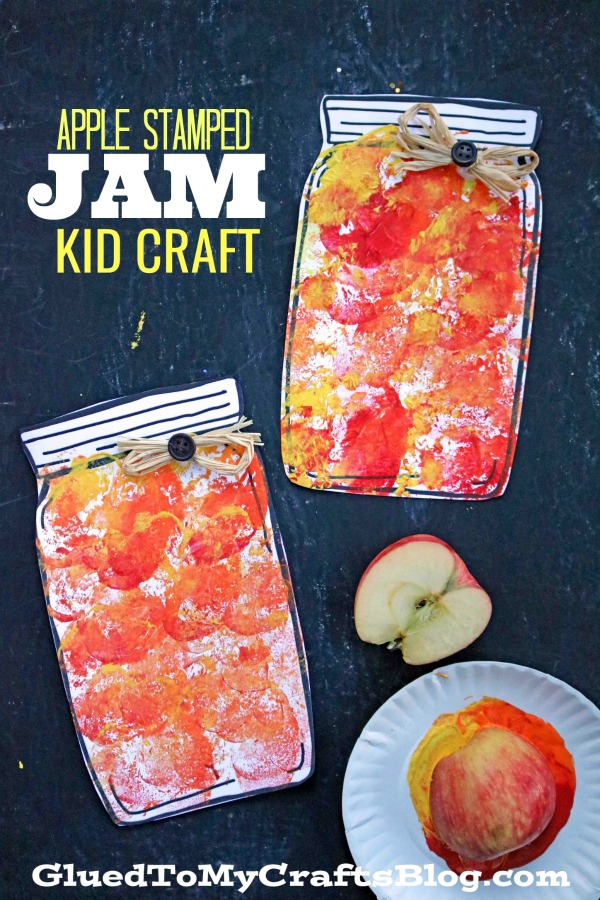 Apple Stamped Mason Jar Jam - Kid Craft