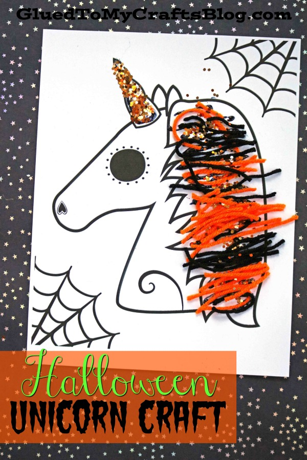 picture regarding Halloween Craft Printable called Halloween Unicorn Craft w/cost-free printable template