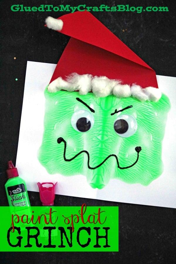 Paint Splat Grinch Face - Kid Craft