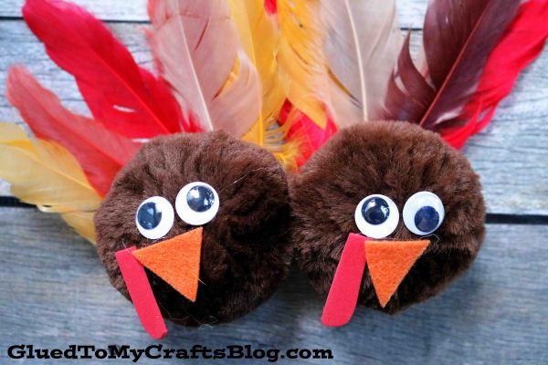 Super Easy Pom Pom Turkey Friends - Kid Craft