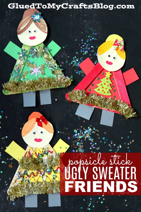 Popsicle Stick Ugly Sweater Friends - Kid Craft