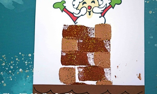 Mixed Media Santa In The Chimney – Art Project