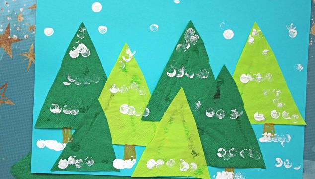 Creative Paper Napkin Winter Trees - Kid Craft