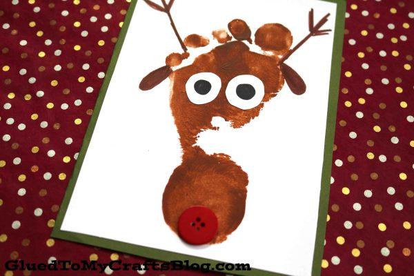 Footprint Reindeer - Christmas Keepsake Card