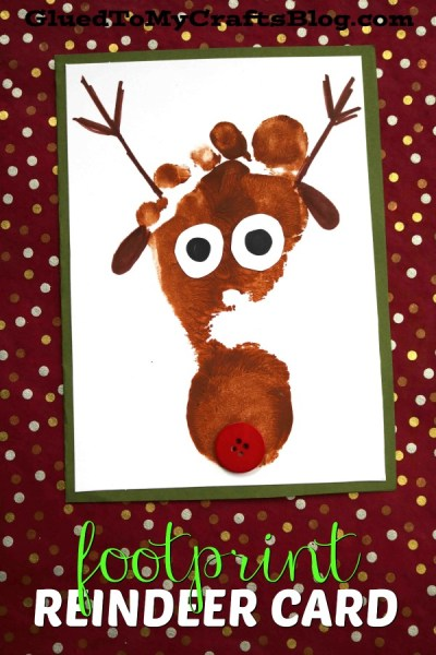 Footprint Reindeer - Christmas Keepsake Card