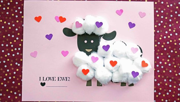 Cotton Ball Valentine Lamb - Kid Craft