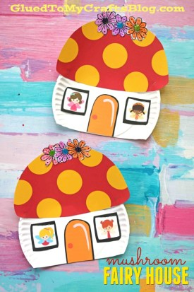 Paper Plate Mushroom Fairy House - Kid Craft