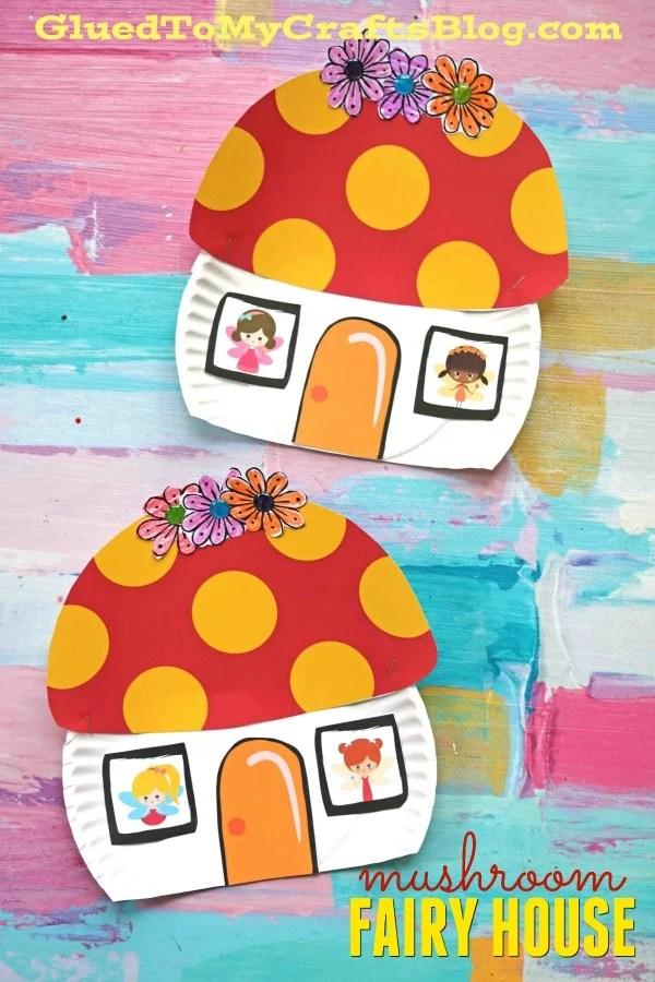 Paper Plate Mushroom Fairy House - Kid Craft